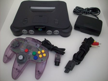 N64 System w/ 1 Purple Controller, AV Cable, Power Pack